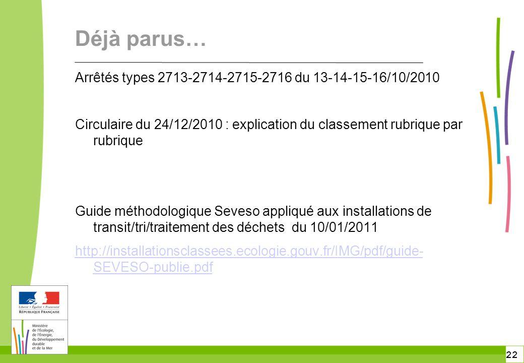 Déjà parus… Arrêtés types 2713-2714-2715-2716 du 13-14-15-16/10/2010