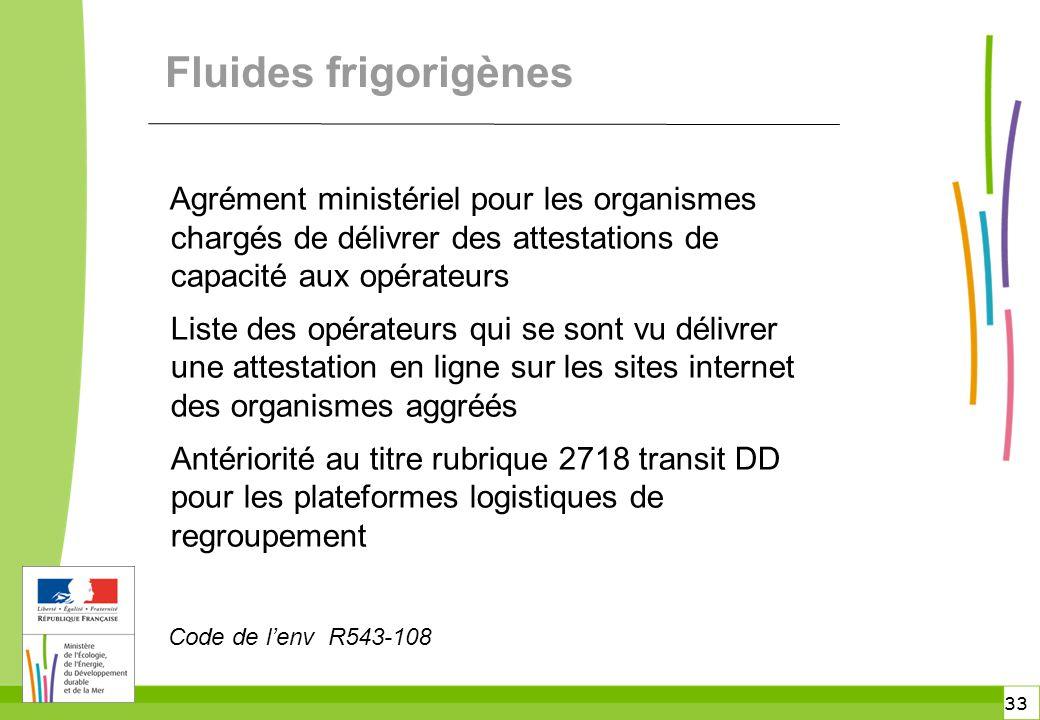 Fluides frigorigènes Agrément ministériel pour les organismes chargés de délivrer des attestations de capacité aux opérateurs.