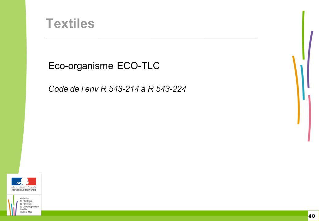 Textiles Eco-organisme ECO-TLC Code de l'env R 543-214 à R 543-224