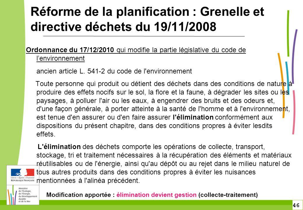 Réforme de la planification : Grenelle et directive déchets du 19/11/2008