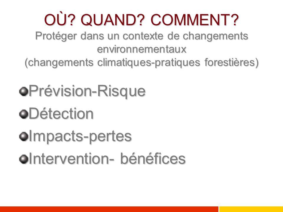 OÙ QUAND COMMENT Protéger dans un contexte de changements environnementaux (changements climatiques-pratiques forestières)