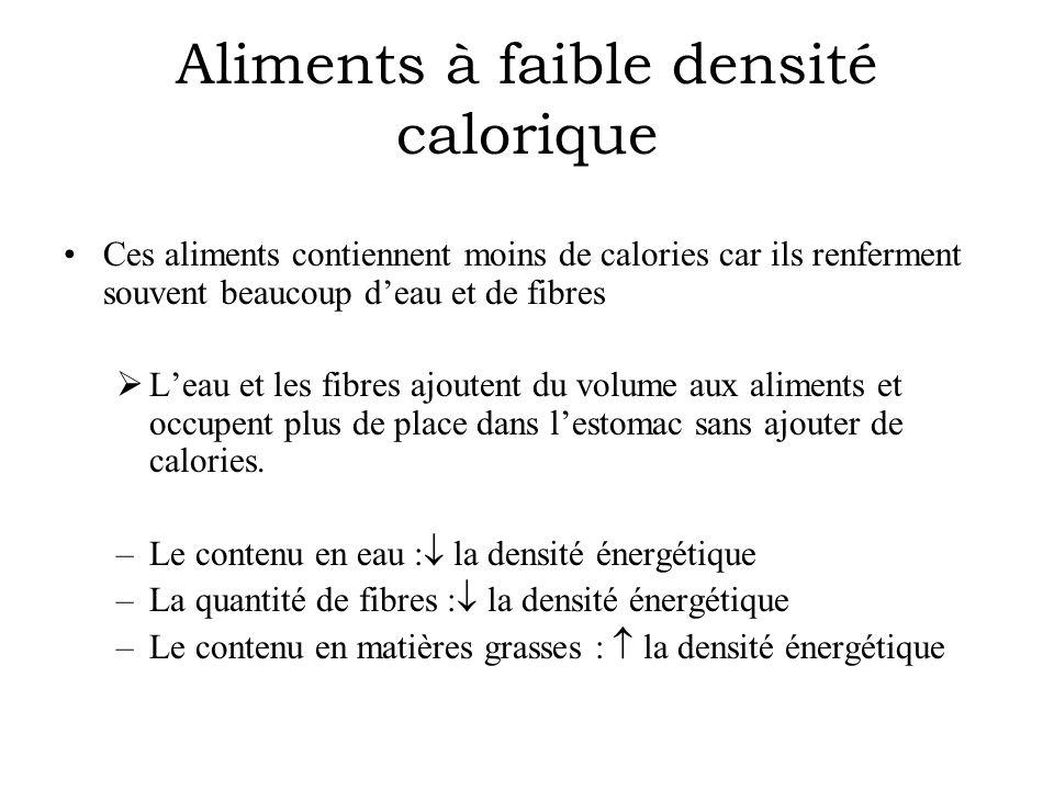 Aliments à faible densité calorique