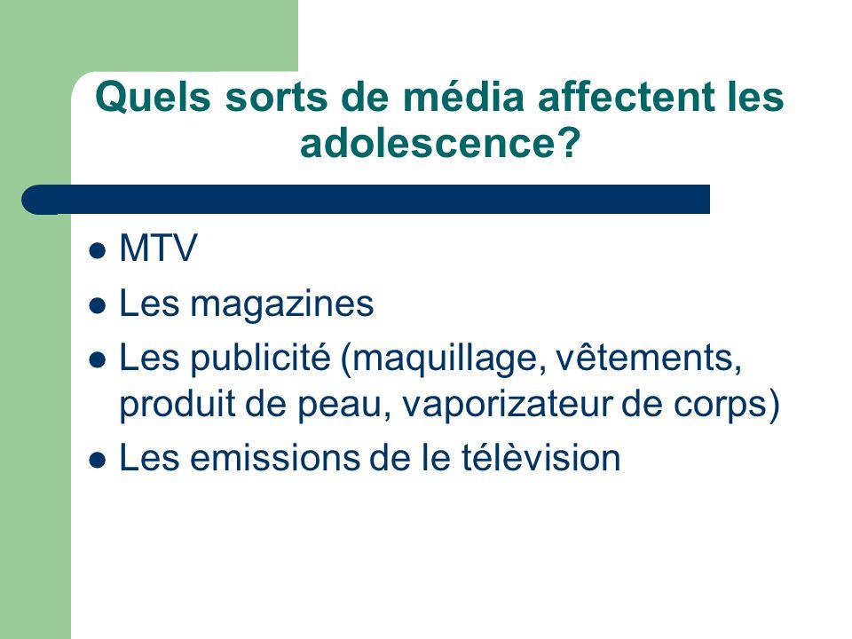 Quels sorts de média affectent les adolescence
