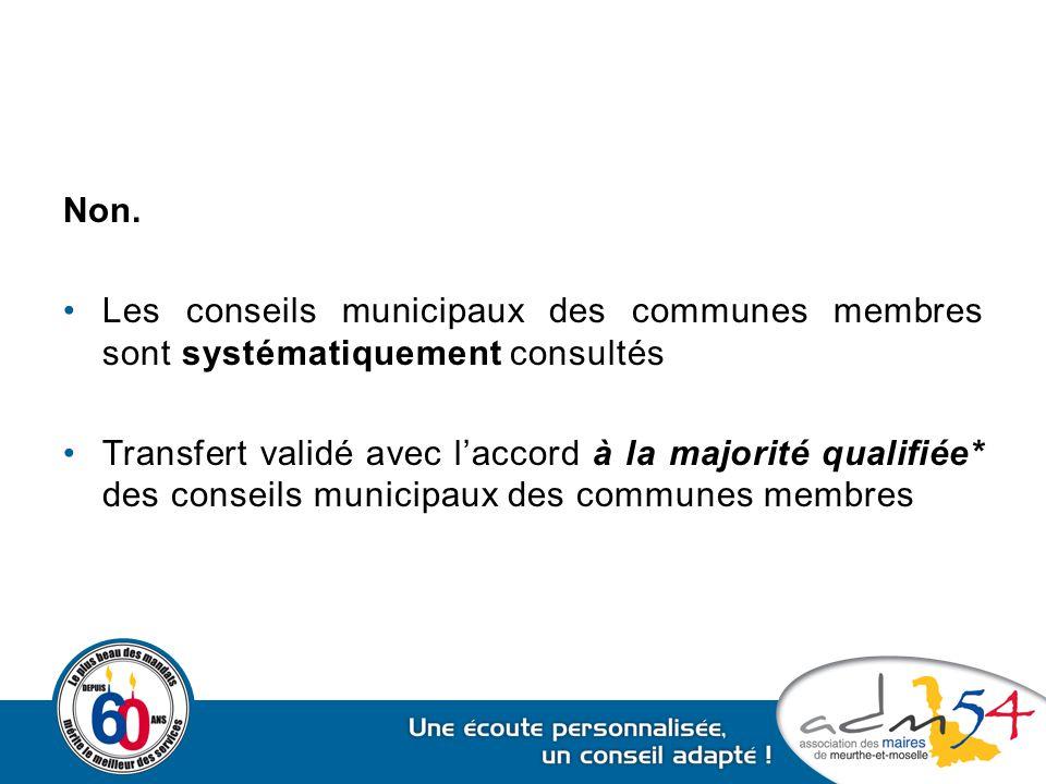 Non. Les conseils municipaux des communes membres sont systématiquement consultés.