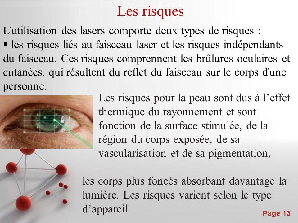Les risques L utilisation des lasers comporte deux types de risques :