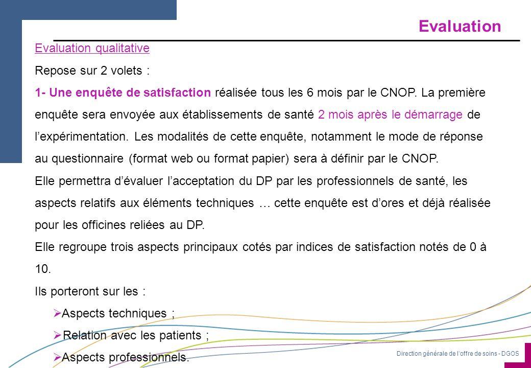 Evaluation Evaluation qualitative Repose sur 2 volets :
