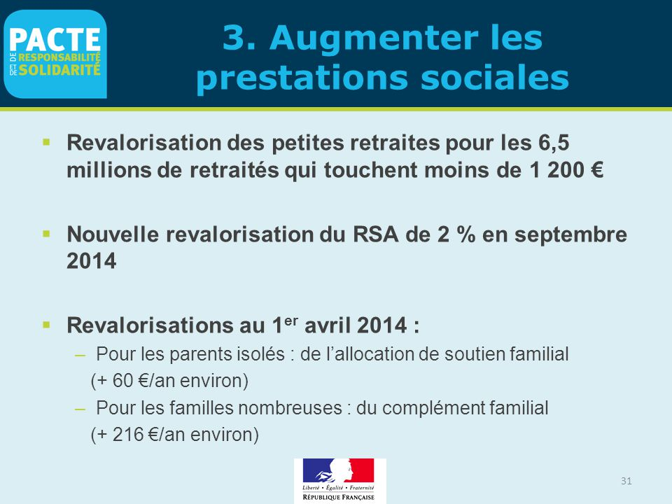 3. Augmenter les prestations sociales