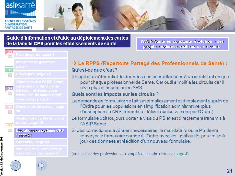  Le RPPS (Répertoire Partagé des Professionnels de Santé) :