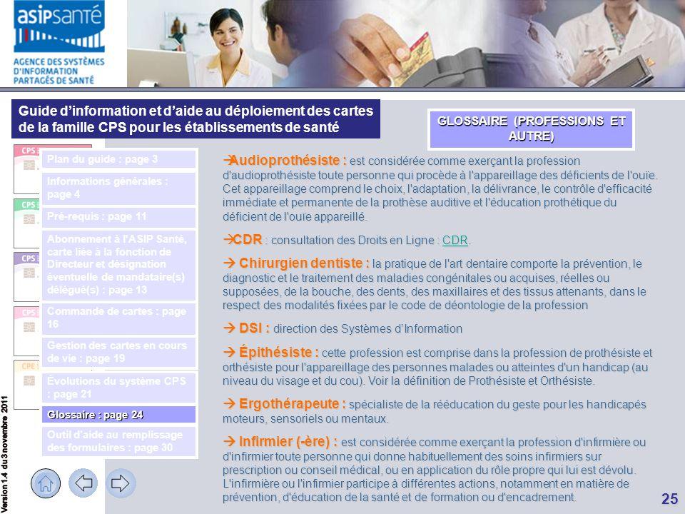 GLOSSAIRE (PROFESSIONS ET AUTRE)