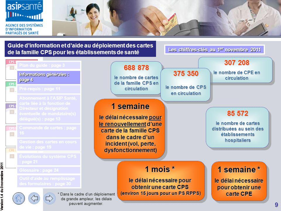 Les chiffres-clés au 1er novembre 2011