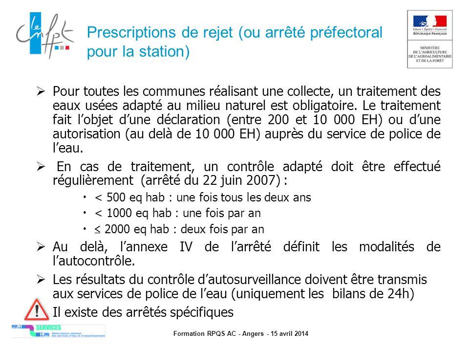 Prescriptions de rejet (ou arrêté préfectoral pour la station)