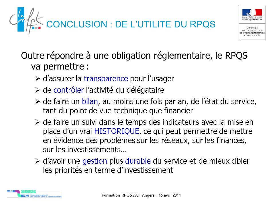 CONCLUSION : DE L'UTILITE DU RPQS