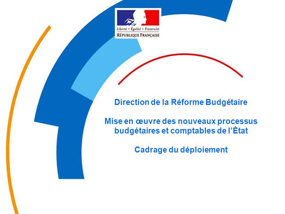 Direction de la Réforme Budgétaire Mise en œuvre des nouveaux processus budgétaires et comptables de l'État Cadrage du déploiement