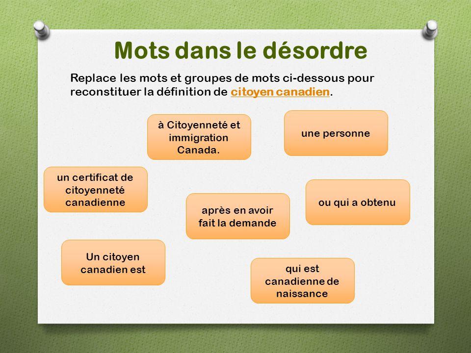 Mots dans le désordre Replace les mots et groupes de mots ci-dessous pour reconstituer la définition de citoyen canadien.