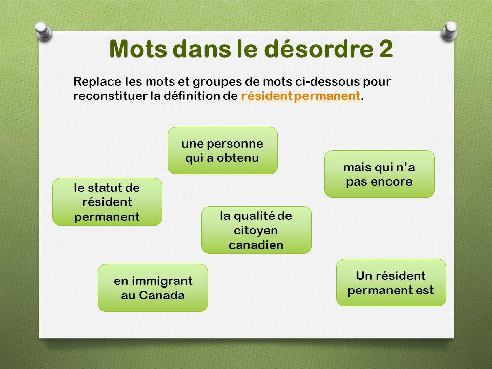 Mots dans le désordre 2 Replace les mots et groupes de mots ci-dessous pour reconstituer la définition de résident permanent.