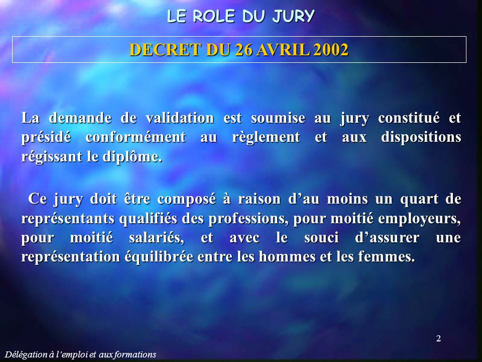 DECRET DU 26 AVRIL 2002 LE ROLE DU JURY