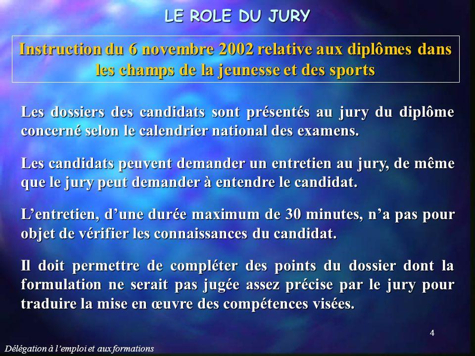 LE ROLE DU JURY Instruction du 6 novembre 2002 relative aux diplômes dans les champs de la jeunesse et des sports.