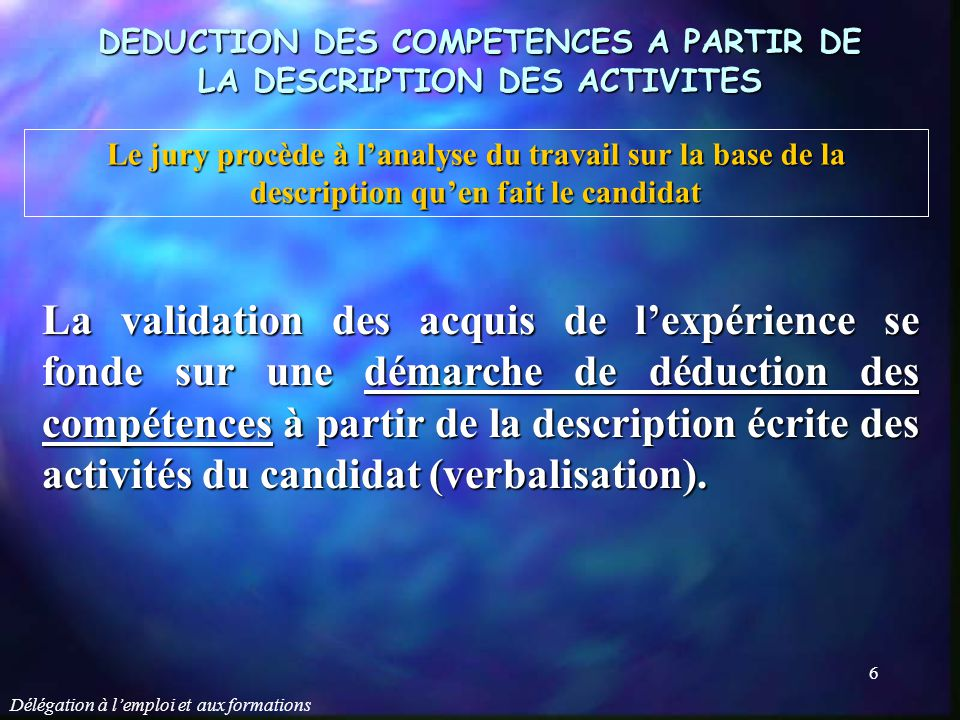 DEDUCTION DES COMPETENCES A PARTIR DE LA DESCRIPTION DES ACTIVITES
