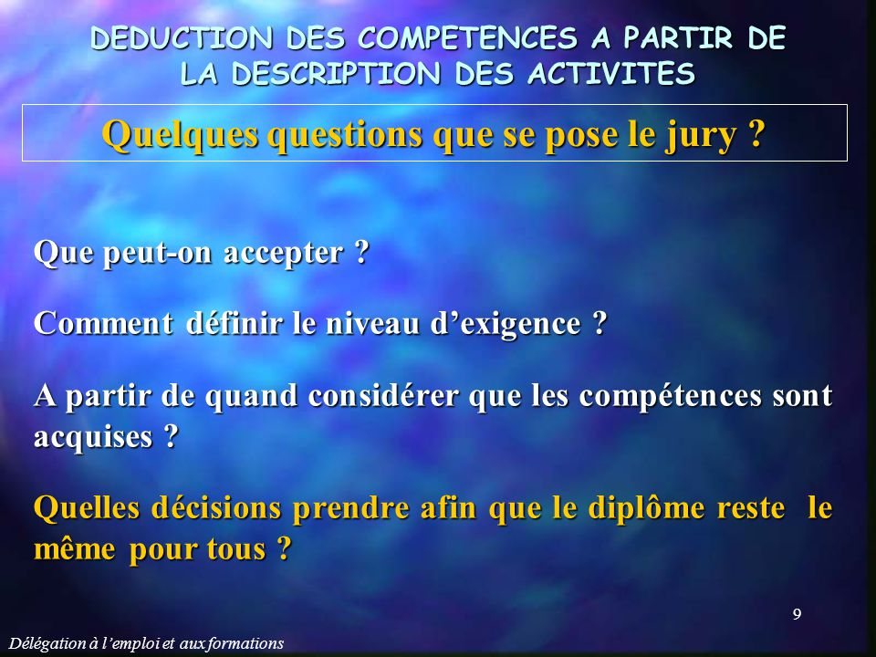 Quelques questions que se pose le jury
