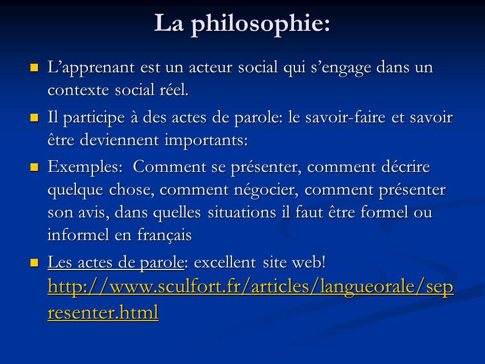 La philosophie: L'apprenant est un acteur social qui s'engage dans un contexte social réel.