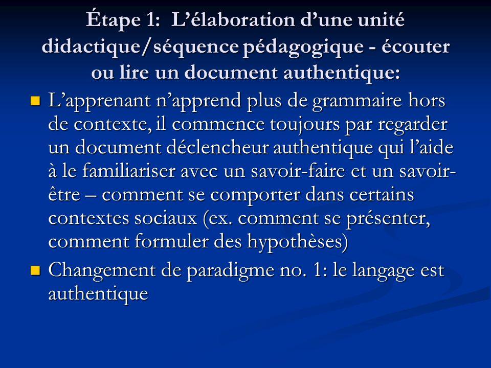 Étape 1: L'élaboration d'une unité didactique/séquence pédagogique - écouter ou lire un document authentique: