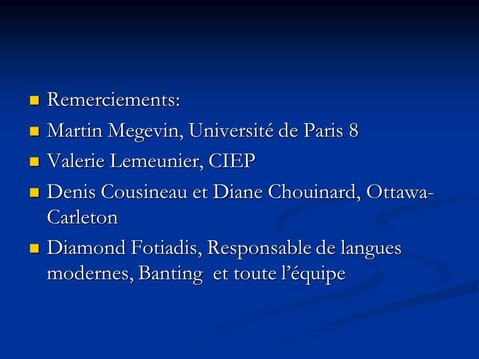 Remerciements: Martin Megevin, Université de Paris 8. Valerie Lemeunier, CIEP. Denis Cousineau et Diane Chouinard, Ottawa-Carleton.