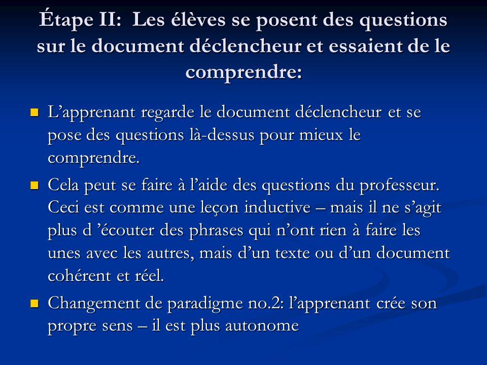 Étape II: Les élèves se posent des questions sur le document déclencheur et essaient de le comprendre: