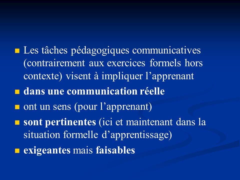 Les tâches pédagogiques communicatives (contrairement aux exercices formels hors contexte) visent à impliquer l'apprenant
