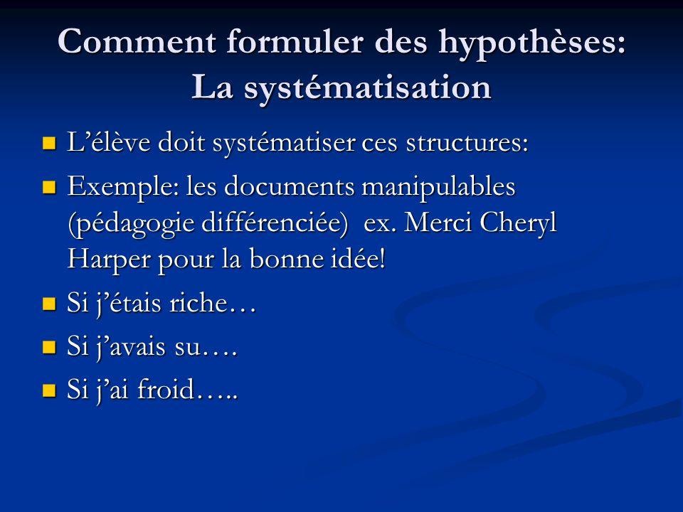 Comment formuler des hypothèses: La systématisation
