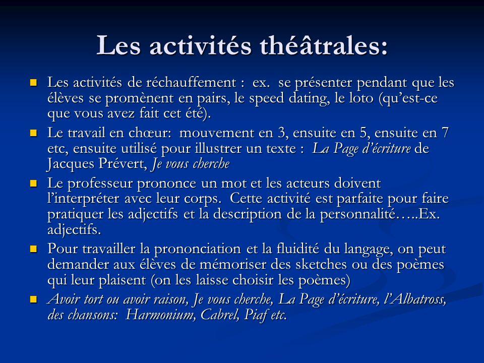 Les activités théâtrales: