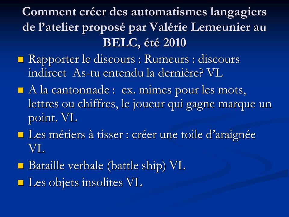 Comment créer des automatismes langagiers de l'atelier proposé par Valérie Lemeunier au BELC, été 2010