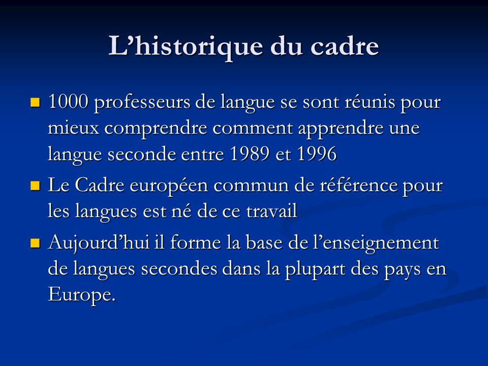 L'historique du cadre 1000 professeurs de langue se sont réunis pour mieux comprendre comment apprendre une langue seconde entre 1989 et 1996.