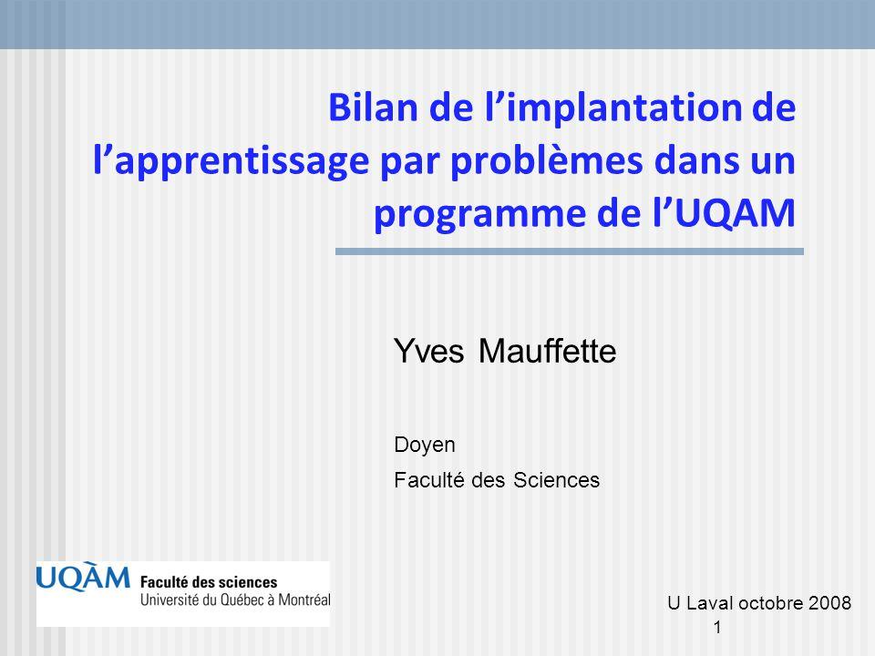 Bilan de l'implantation de l'apprentissage par problèmes dans un programme de l'UQAM