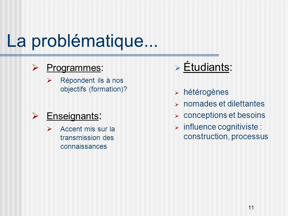 La problématique... Étudiants: Programmes: Enseignants: hétérogènes