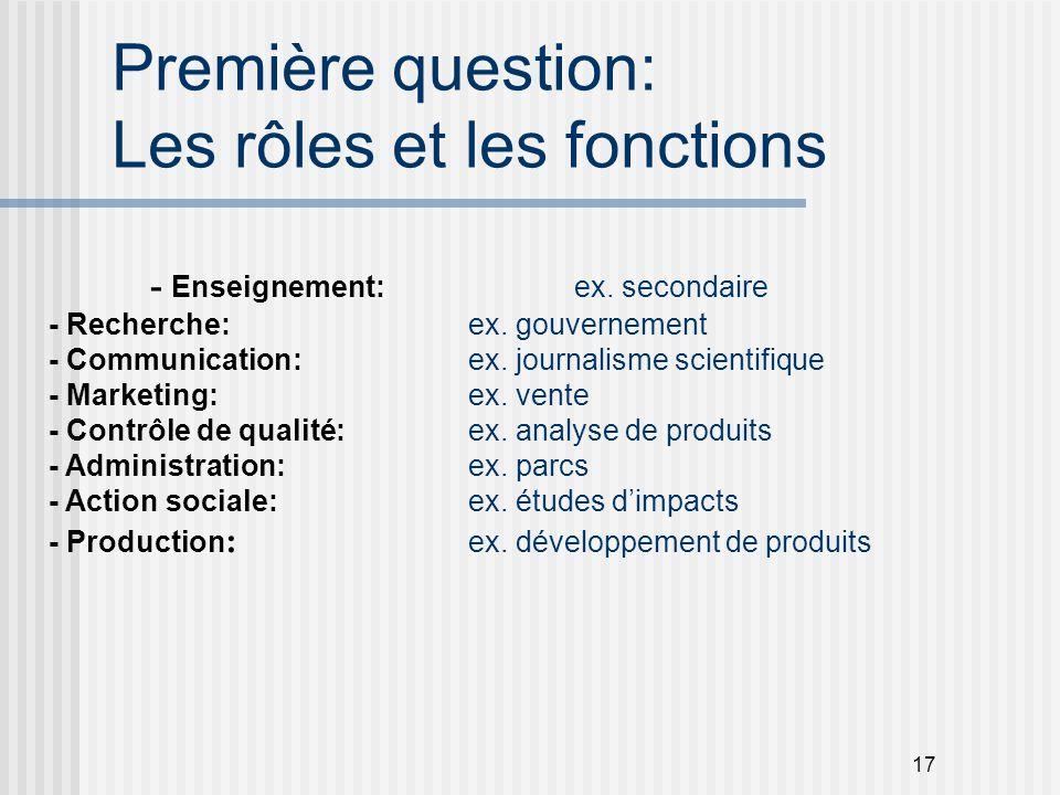 Première question: Les rôles et les fonctions