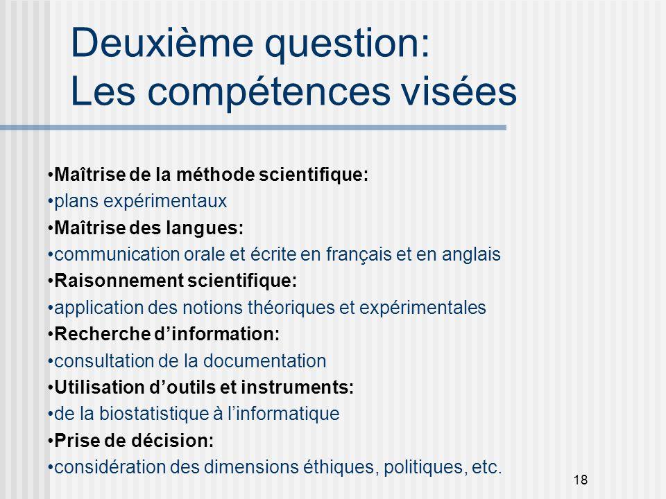 Deuxième question: Les compétences visées