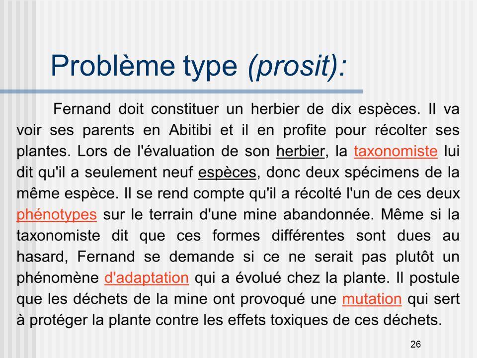Problème type (prosit):