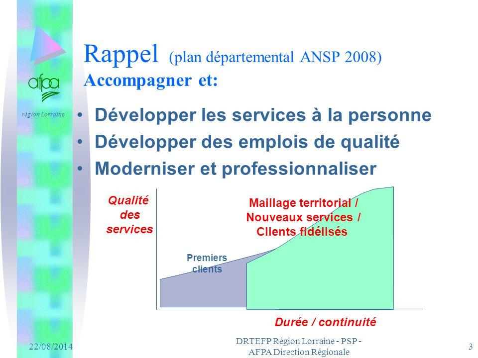 Rappel (plan départemental ANSP 2008) Accompagner et:
