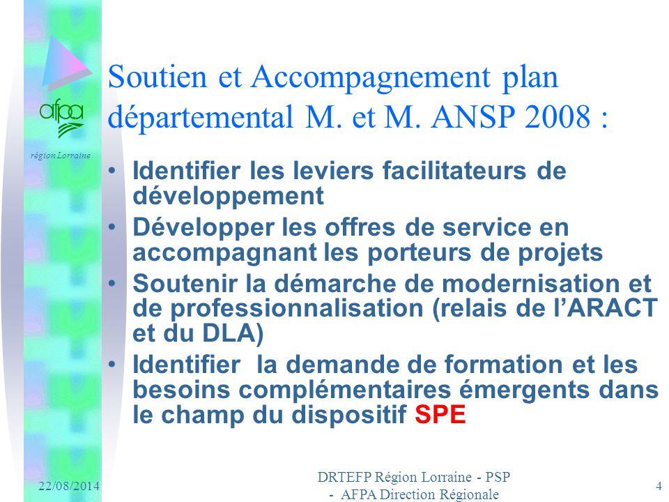 Soutien et Accompagnement plan départemental M. et M. ANSP 2008 :