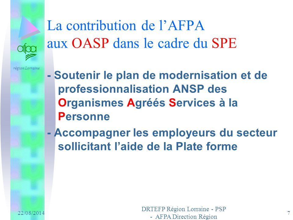 La contribution de l'AFPA aux OASP dans le cadre du SPE