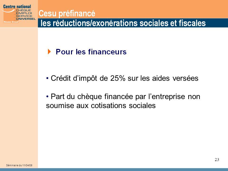 • Crédit d'impôt de 25% sur les aides versées