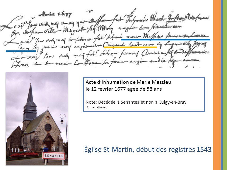 Église St-Martin, début des registres 1543