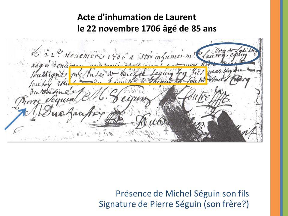 Acte d'inhumation de Laurent le 22 novembre 1706 âgé de 85 ans