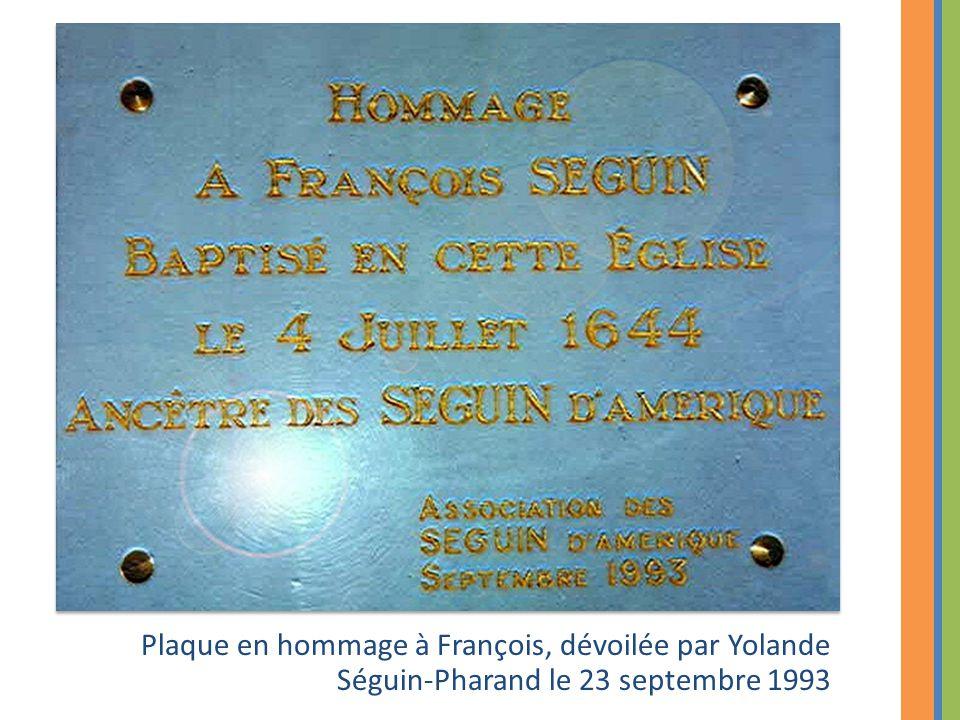 Plaque en hommage à François, dévoilée par Yolande Séguin-Pharand le 23 septembre 1993