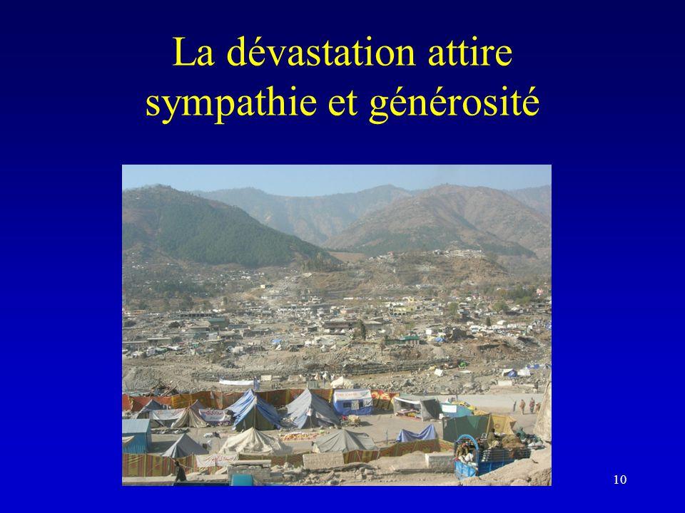 La dévastation attire sympathie et générosité