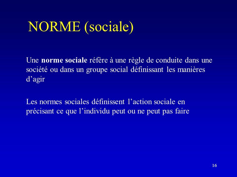 NORME (sociale) Une norme sociale réfère à une règle de conduite dans une société ou dans un groupe social définissant les manières d'agir.