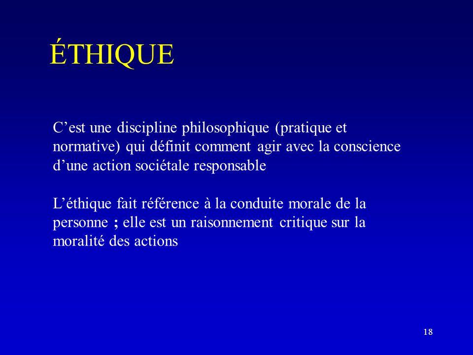 ÉTHIQUE C'est une discipline philosophique (pratique et normative) qui définit comment agir avec la conscience d'une action sociétale responsable.