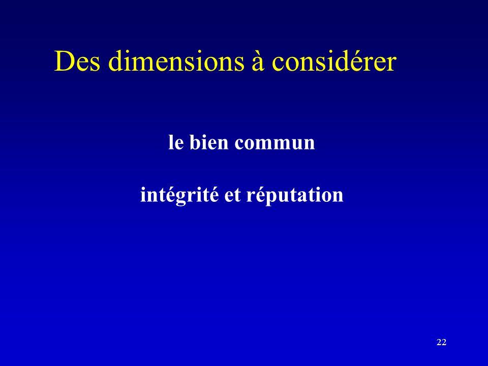 Des dimensions à considérer