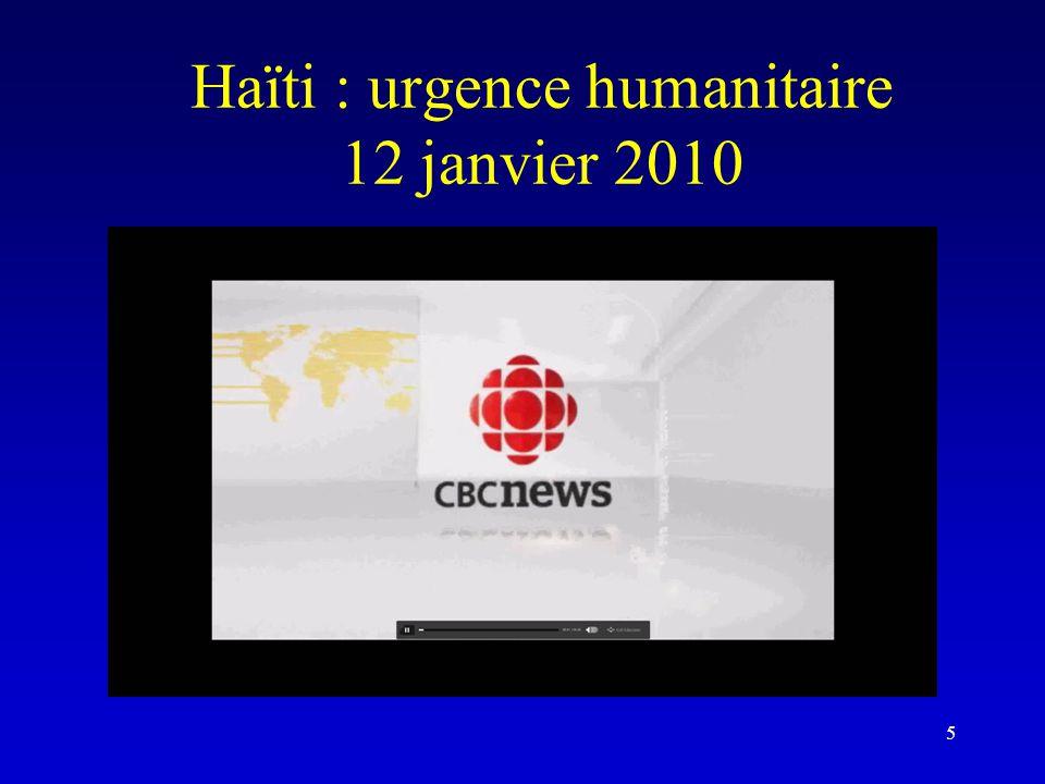 Haïti : urgence humanitaire 12 janvier 2010