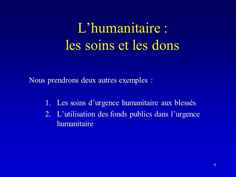 L'humanitaire : les soins et les dons